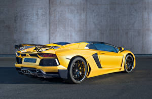 Картинка Ламборгини Люксовые Желтый Вид Родстер Hamann Aventador Roadster Limited LB834 Машины