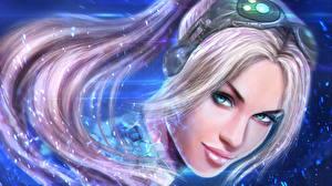 Фото StarCraft 2 Взгляд Головы Волосы Блондинка Улыбается Игры Девушки