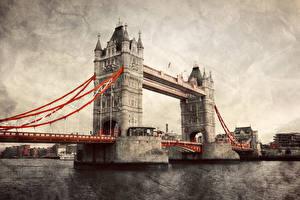 Картинка Великобритания Мосты Англия Лондон HDR Tower Bridge Города