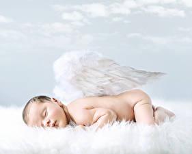 Картинка Ангел Младенец Крылья Спит ребёнок