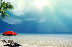 Фотография Тропики Море Побережье Небо Зонт Природа