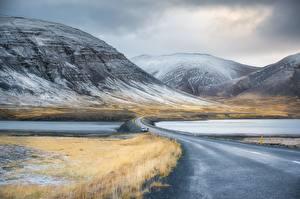 Фото Небо Горы Дороги Зима Реки Снеге Природа