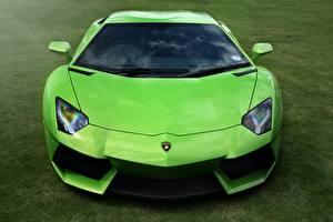 Обои Lamborghini Спереди Траве Роскошная Фары Салатовая Aventador LP700-4 авто