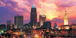 Фото Штаты Рассвет и закат Небоскребы Здания Ohio Cleveland город