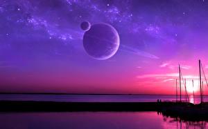 Картинка Планеты Звезды Рассветы и закаты Море Космос Природа