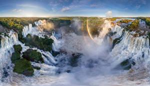 Фотографии Пейзаж Бразилия Аргентина Водопады Реки Радуга Природа