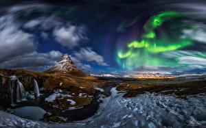 Фотография Исландия Горы Небо Пейзаж Вулкан Снегу Облака Природа