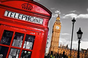 Фотографии Англия Телефон Биг-Бен Лондоне Уличные фонари