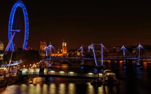 Фото Великобритания Речка Мосты Лондон Колесо обозрения Ночь