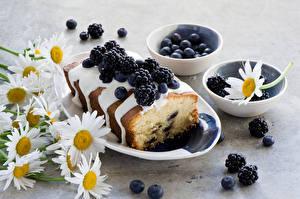Картинки Натюрморт Выпечка Ежевика Ромашки Кекс Тарелка Продукты питания Цветы