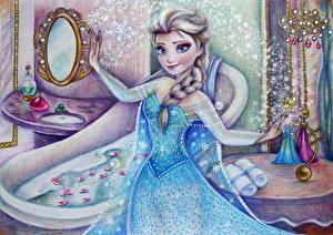 Картинка Холодное сердце Дисней Рисованные Коса Смотрит Платье Elsa Мультики Девушки