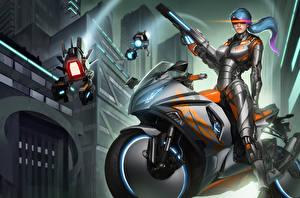 Обои Рисованные Автоматы Робот Доспехи Gemini Фэнтези Девушки Мотоциклы фото