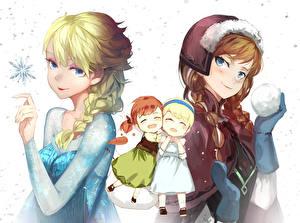 Фотографии Рисованные Холодное сердце Disney Коса Двое Снегу anna, elsa мультик Девушки