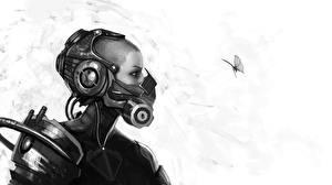 Обои Бабочки Насекомые Шлем monochrome High Tech Фэнтези Девушки