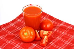 Картинка Помидоры Напитки Овощи Крупным планом Стакан Красный Пища