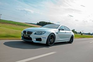 Картинки БМВ Небо Дороги Белых 2014 G-Power M6 Gran Coupe F06 автомобиль