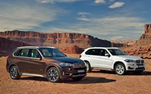 Фотография Небо BMW Каньона Белых Сбоку Вдвоем X5 Автомобили