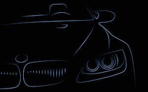Картинка БМВ Рисованные Векторная графика Спереди Фары Авто