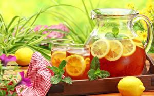 Обои Лимоны Напитки Лимонад Кувшины Стакан Продукты питания