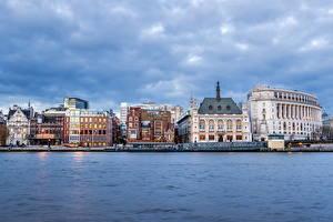 Картинки Великобритания Дома Река Небо Лондоне Города