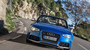 Картинки Audi Спереди Синяя Фары Кабриолета RS 5 coupe авто