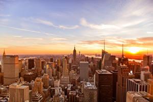 Картинки Небо Рассветы и закаты Дома Небоскребы Штаты Нью-Йорк город