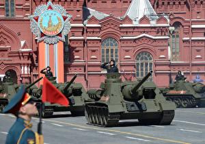 Картинка Танки Солдаты Москва 9 мая Военный парад Городская площадь SU-100, Red Square