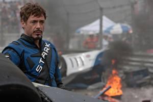 Фотография Мужчины Железный человек Роберт Дауни мл. Iron Man 2, Tony Stark кино Знаменитости