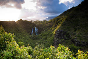 Фотографии Гора Водопады Гавайские острова Облака Opaekaa Falls Природа