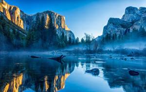 Фото Озеро Горы Америка Парк Скала Тумана Йосемити Природа