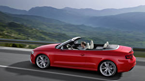 Фото Audi Красный Сбоку Асфальта Кабриолет RS 5 coupe Автомобили