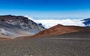 Фото Горы Камни Небо Облачно Вулкан Гавайские острова volcano Haleakala Hawaiian island of Maui Природа