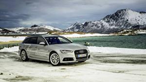 Обои Гора Зима Audi Универсал 2015 A6 TDI Avant quattro concept авто
