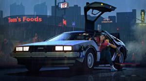 Фотография Назад в будущее Делориан Мужчины Ночь Фары DeLorean team fortress, scout 3D_Графика Автомобили