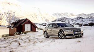 Обои Ауди Зима Здания Снег Универсал 2015 A6 TDI Avant quattro concept