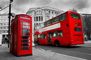 Обои Англия Автобус Лондоне Телефон Улиц Красных Города