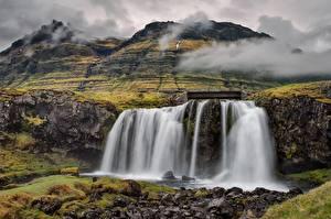 Фото Исландия Водопады Гора Киркьюфетль гора Вулкана Природа