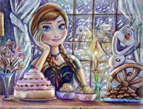 Картинки Холодное сердце Дисней Рисованные Коса Olaf, Anna Мультфильмы Девушки