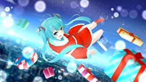Картинка Hatsune Miku Vocaloid Новый год Подарки Аниме Девушки