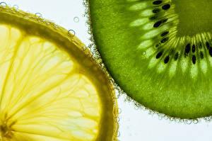 Фотографии Киви Лимоны Вблизи Вода Продукты питания