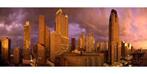 Картинка США Рассвет и закат Небоскребы Дома Чикаго город Облака город