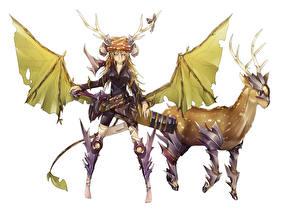 Обои Олени Воины Рога Крылья Девушки Животные Фэнтези