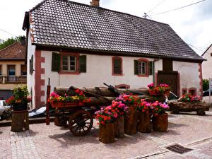 Фотографии Франция Дома Бегония Oberhaslach Города