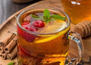 Фото Малина Лимоны Корица Чай Крупным планом Напиток Чашке Еда