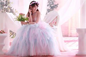Фотографии Азиаты Платья Свадьбы Невеста молодая женщина