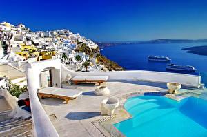 Фотография Греция Здания Санторини Бассейны город