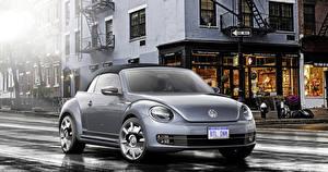 Фотография Фольксваген Тюнинг Серебристый 2015 Beetle Cabriolet Denim Автомобили