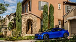 Картинка Субару Дома Сбоку Синяя brz Автомобили