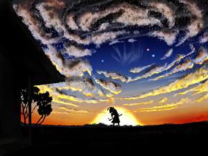 Обои Небо Рассветы и закаты Touhou Collection Облака Konpaku Youmu Девушки