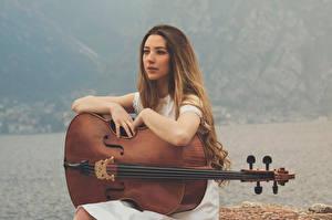 Картинка Музыкальные инструменты Виолончель Русые Шатенка Девушки